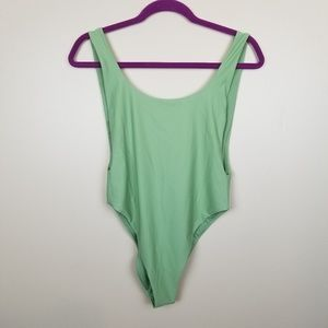 Aerie Light Green Plunging One Piece Bathing Suit